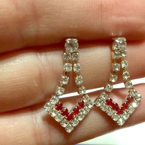 Clear Red crystal Silvertone pierced earrings NWT